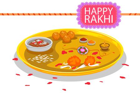 raksha: Puja Plate with Rakhi and sweet for Raksha Bandhan in vector