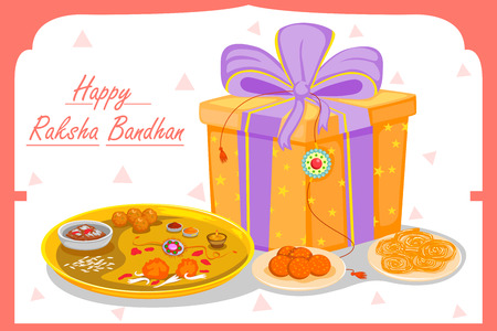raksha: Gift and Rakhi for Raksha Bandhan in vector