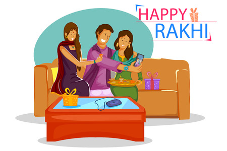 sisters: Brother and Sister tying Rakhi on Raksha Bandhan in vector Illustration