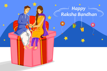 Brother and Sister tying Rakhi on Raksha Bandhan in vector Illustration