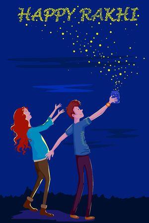 Brother and Sister celebrating Rakhi on Raksha Bandhan in vector Illustration