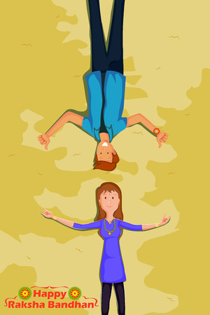 raksha: Brother and Sister Raksha Bandhan in vector Illustration