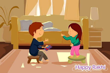 auspicious: Brother and Sister tying Rakhi on Raksha Bandhan in vector Illustration