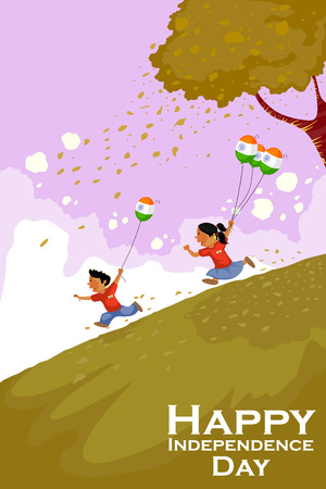 インド人のベクトルで幸せなインドの独立記念日を祝う