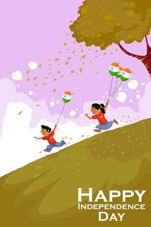 벡터 인도의 행복한 독립 기념일을 축하 인도 사람들