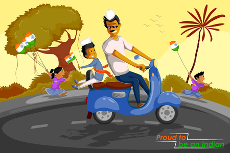 people celebrating: Indian people celebrating Happy Independence Day of India in vector