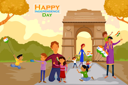 indian family: Indian people celebrating Happy Independence Day of India near India Gate in vector