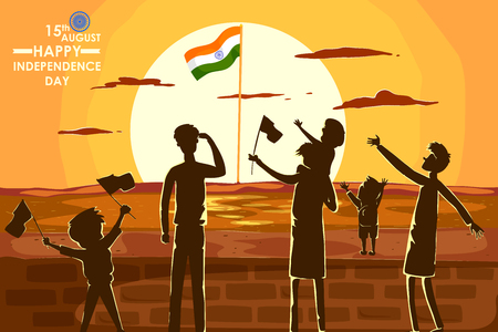 15 august: Indian people celebrating Happy Independence Day of India in vector