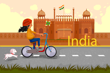 fort: Indian girl celebrating Happy Independence Day of India cycling near Red Fort in vector