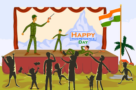 people celebrating: Indian people celebrating Happy Independence Day of India with children performing on stagein vector Illustration