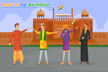 Indian people Hindu, Muslim, Sikh, Christan celebrating Happy Independence Day of India in vector Vector Illustration