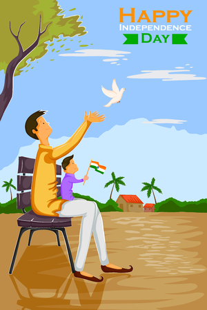 people celebrating: Indian people celebrating Happy Independence Day of India with flying dove in vector