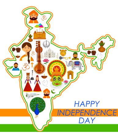 15 de agosto Día de la Independencia feliz de la India en el fondo del vector