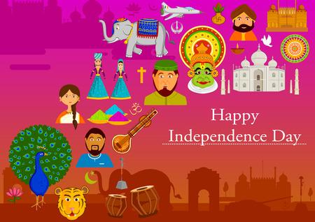 diversidad: 15 de agosto Día de la Independencia feliz de la India en el fondo del vector