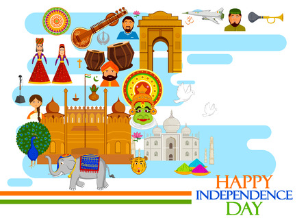 sikh: 15th August, Happy Independence Day of India in vector background
