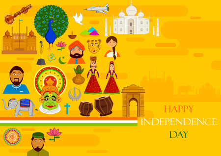 26: 15th August, Happy Independence Day of India in vector background