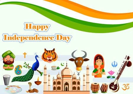 15th August, Happy Independence Day of India in vector background