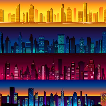 Seamless skyscraper building pattern background in vector Illustration