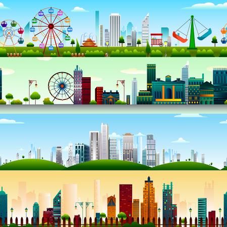 De fondo sin fisuras patrón de la construcción de rascacielos en el vector Ilustración de vector