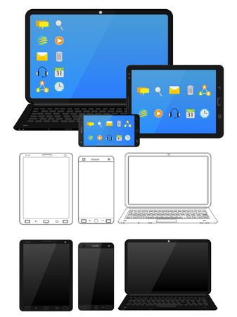 electronic tablet: Electronic device and gadget like laptop, tablet and smartphone in vector