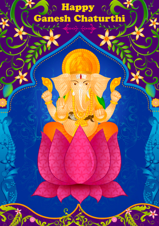 mangal: Lord Ganpati in vector for Happy Ganesh Chaturthi Illustration
