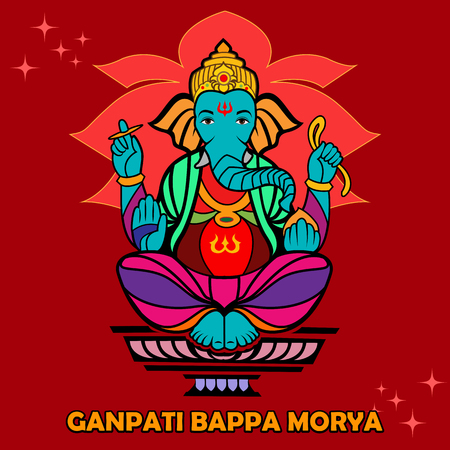 mangal: Lord Ganpati in vector for Happy Ganesh Chaturthi with text Ganpati Bappa Morya, My Lord Ganpati Illustration