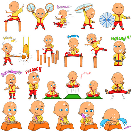 Japanese priest boy Emoji for different expression and feeling in vector