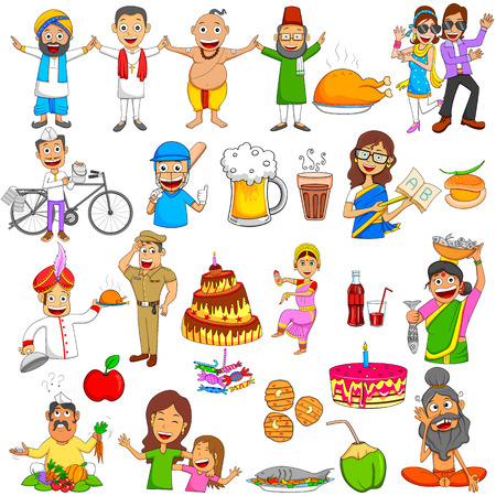chai: Indian people Emoji for different expression and feeling in vector