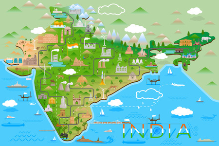 Map of India with famous monument and landmark in vector