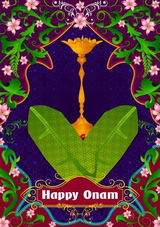 sravanmahotsav: Banana Leaf with lamp diya for Happy Onam in vector