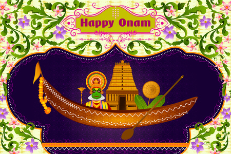 Kathakali dancer and South Indian temple on boat for Happy Onam in vector Illustration
