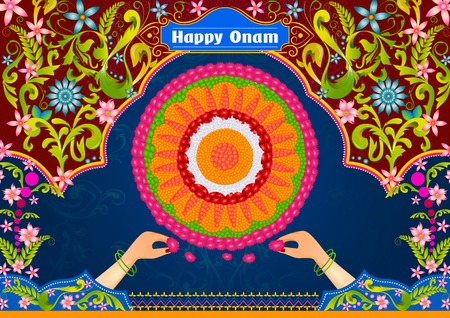 auspicious: Colorful pookalam flower rangoli for Happy Onam in vector