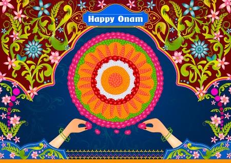 sravanmahotsav: Colorful pookalam flower rangoli for Happy Onam in vector