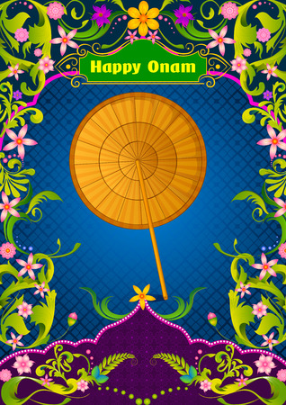 malayalam: Plam leaf Umbrella for Onam decoration in vector