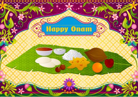 feier: Authentifizieren südindischen Zubereitung von Speisen für Happy Onam Feier in Vektor Illustration