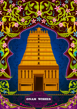 kerala culture: South Indian temple structure building for Happy Onam in vector