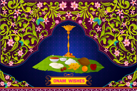 Authenticate South Indian food preparation for Happy Onam celebration in vector Illustration