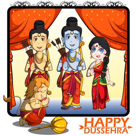 Lord Rama, Laxmana, Sita with Hanuman in vector for Happy Dussehra background