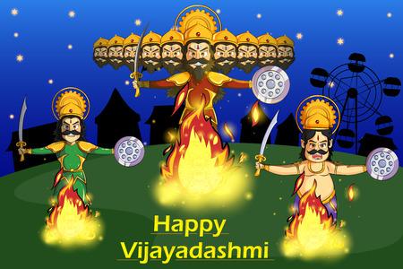 ravana: Ravana Dahan, Burning effigy of Ravana during Dussehra in vector