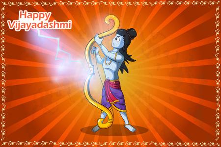 rama: Lord Rama with broken Shiva Dhanush wishing Happy Dussehra in vector