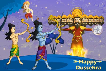 raavana: Rama killing Ravana during Dussehra in vector