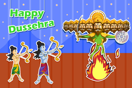 rama: Rama killing Ravana during Dussehra in vector