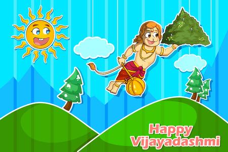 rama: Lord Hanuman flying with Gandamadana parvatham in Happy Vijayadashmi Dussehra background