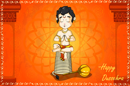 rama: Lord Hanuman praying for Rama in Happy Dussehra background in vector Illustration