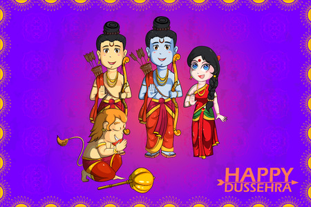 auspicious occasions: Lord Rama, Laxmana, Sita with Hanuman in vector for Happy Dussehra background