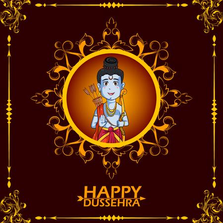 rama: Lord Rama wishing Happy Dussehra in vector