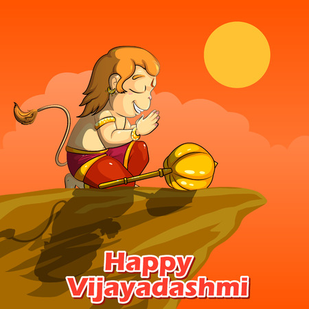 Lord Hanuman praying for Rama in Happy Dussehra background in vector Illustration