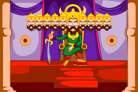 head for: Dashamukha Ravana with ten head for Dussehra in vector Illustration