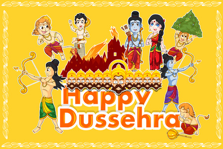 dashamukha: Lord Rama, Laxmana, Sita with Hanuman in vector for Happy Dussehra background