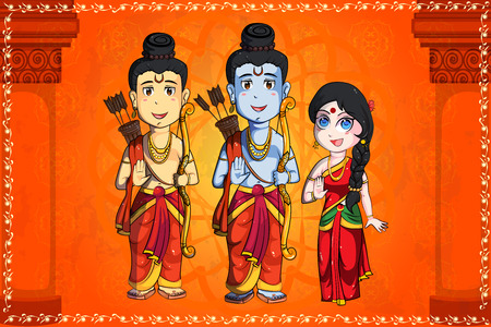 sita: Lord Rama, Laxmana, Sita for Happy Dussehra background  in vector Illustration